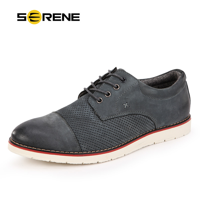 Brand SERENE 2018 New Arrival Mens Shoes Leather Flats Lace-up Shoes Breathable Mens Moccasins British Style Dress Shoes 8157 mens women golf shoes genuine leather shoes british style waterproof breathable free shipping