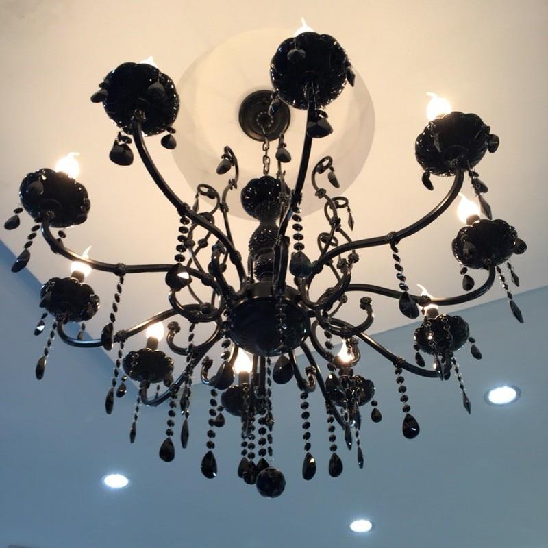 Černý tradiční lustr do jídelny Bar Osvětlení vnitřní zavěšení Led Lusterová lampa Ložnice L14 Ložnice do kuchyně