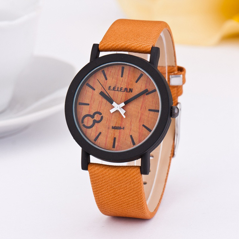 2018 new product recommended imitation wooden quartz female leisure Color Leather Strap Watch 1