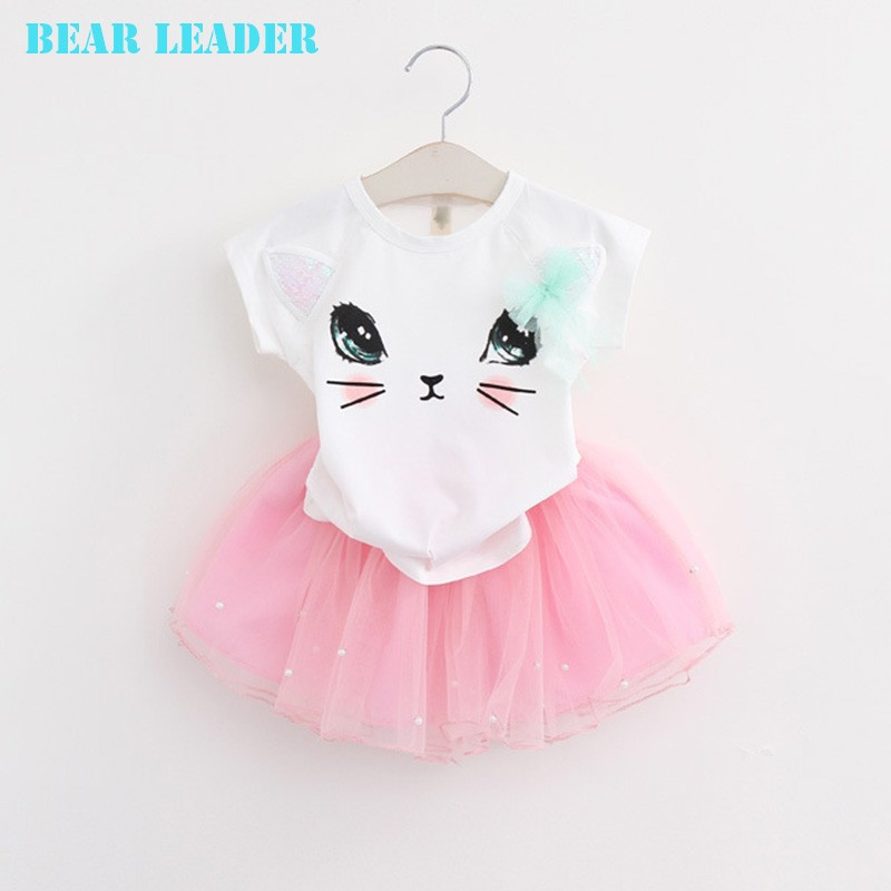 Bear Leader Girls Clothing Sets New Summer Fashion Style Cartoon Kitten Printed T-Shirts+Net Veil Dress 2Pcs Girls Clothes Sets 41
