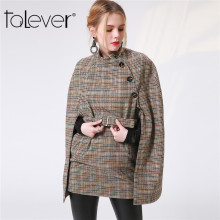 2017 Women Cape Coat Autumn Winter Houndstooth Jacket Overcoat New Casual Plus Szie Plaid Long Sleeve Belt Cloak Outwear Talever(China)