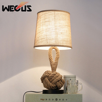 American style retro table lamp creative rope manual art bedside lamp bedroom study office coffee house bar lighting