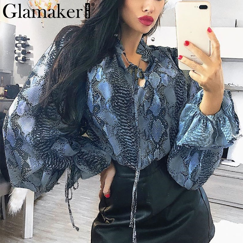 Glamaker Sexy snake printed   blouse     shirt   Office lady puff sleeve casual   shirts   Female elegant spring summer   blouse   tops & tees