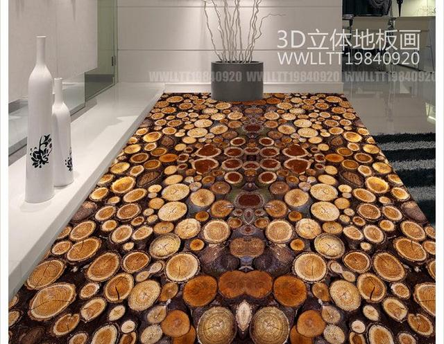 Custom Photo Wallpaper Pvc Floor Painting Tree Cross Section Ring Wood Waterproof Self Adhesive