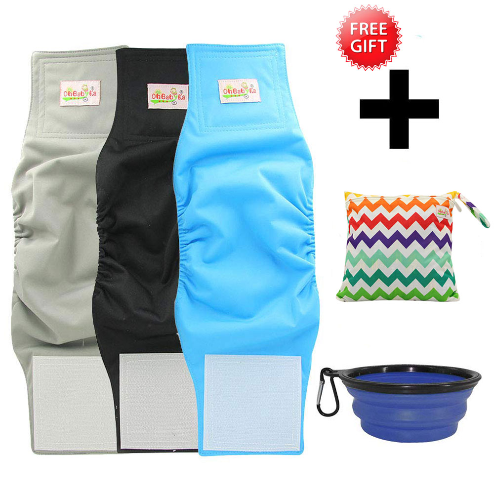Baby Nappies Baby Care Apprehensive Ohbabyka Reusable Male Dog Diapers Hook&loop Adjusted Boys Cloth Diaper 3pcs With 1free Wet Dry Bag And Food Bowl Special Summer Sale