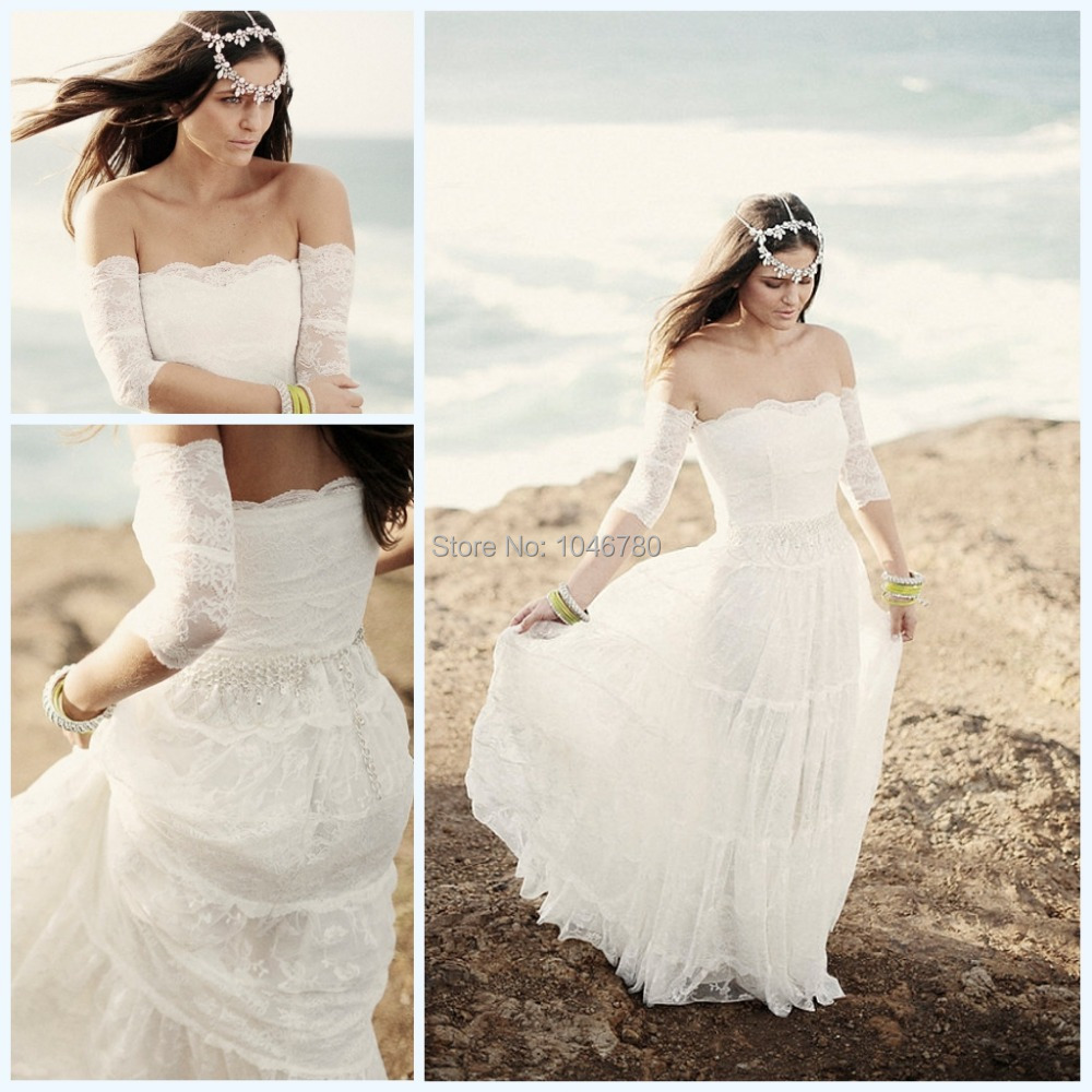 Vestido de noiva 2015 new boho vintage long wedding dress for Wedding dresses for the beach 2015