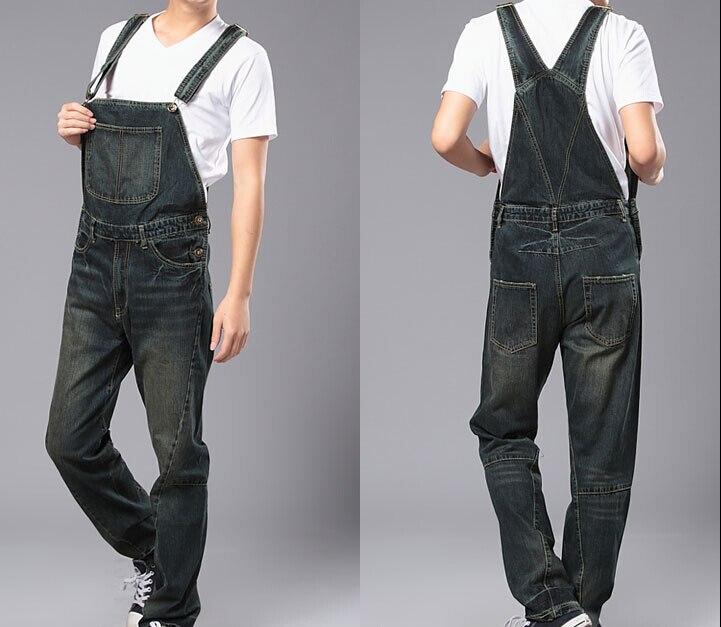 ФОТО S 4XL 2015 Mens plus size overalls Large huge denim bib pants Fashion pocket jumpsuits Male