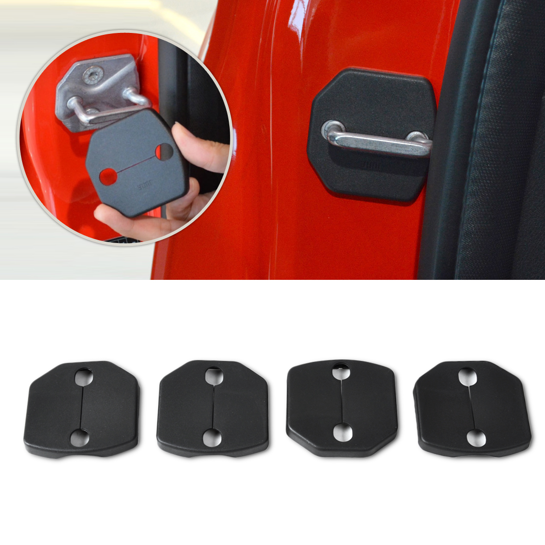 DWCX 4x Car Door Striker Cover Lock Protector Case Fit For Ford Fiesta 2008 2009 2010 2011 2012 2013+ Focus 2011 2012 2013 2014+