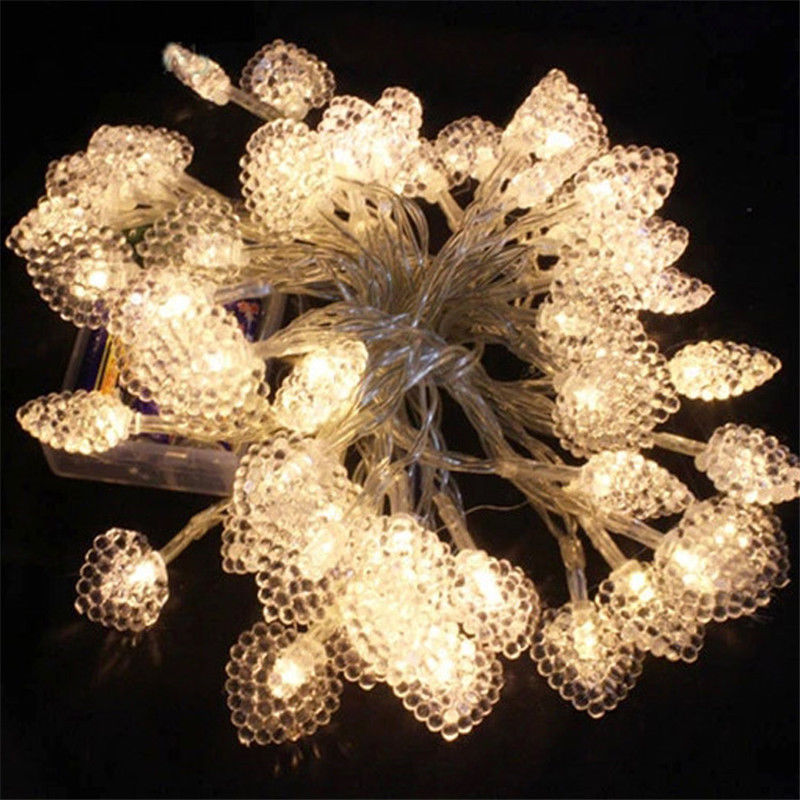 Heart Love 5M 50 LED Battery Operated LED String Lights for Xmas Garland Party Wedding Decoration Christmas Flasher Fairy Lights