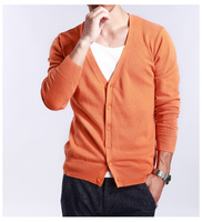 Spring And Autumn Multi Colored V Neck Solid Color Sweater Outerwear Male Cashmere Cardigan Knitted Thin