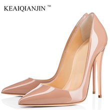 Купить с кэшбэком KEAIQIANJIN Sexy Woman High Heels Shoes Wedding Bridal Heel Shoes Women's Party Plus Size Pointed Toe Pumps Party Stiletto