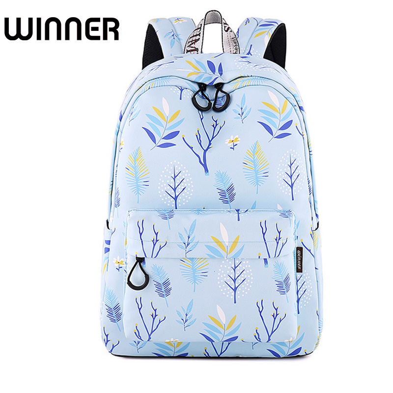 Fashion Waterproof Polyester Women Backpack Blue Trees Leaves Pattern Printing Female Bagpack Girls Daily Bookbags b105 2 beautiful tree pattern polyester waterproof shower curtain white multicolored