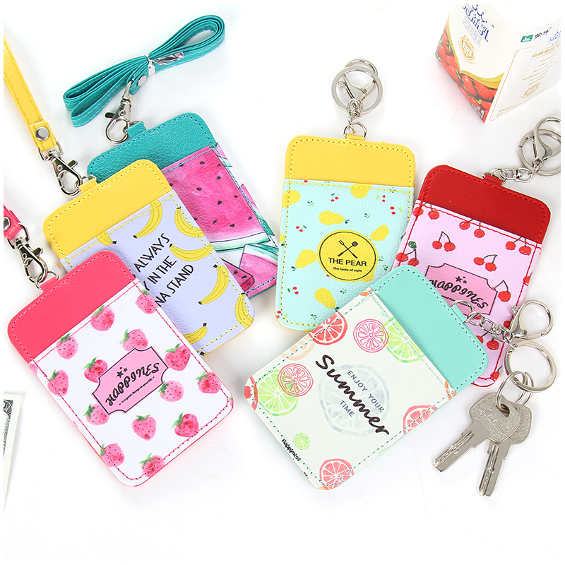 Creative Lanyard Card Cover Bus Card Holder Key Chain Bag Korea Cute Pack Women's Card Holder Porte Carte Card Wallet south korea stationery creative cartoon cute kitten pu wallet key bag storage material