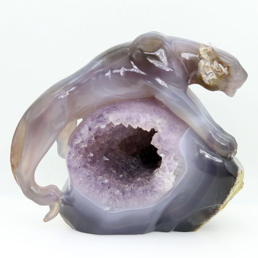 7,2 аметистовый геодезический Агат резной кристалл Гепард Кристалл реалистичный Кристалл целебные предметы интерьера фигурка TA69