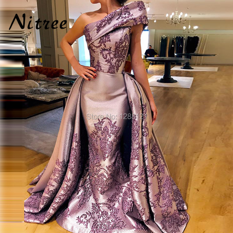 New Elegant Arabic Mermaid   Evening     Dresses   2018 Robe de soiree Turkish Aibye Muslim One Shoulder Formal Prom Gowns Abendkleider