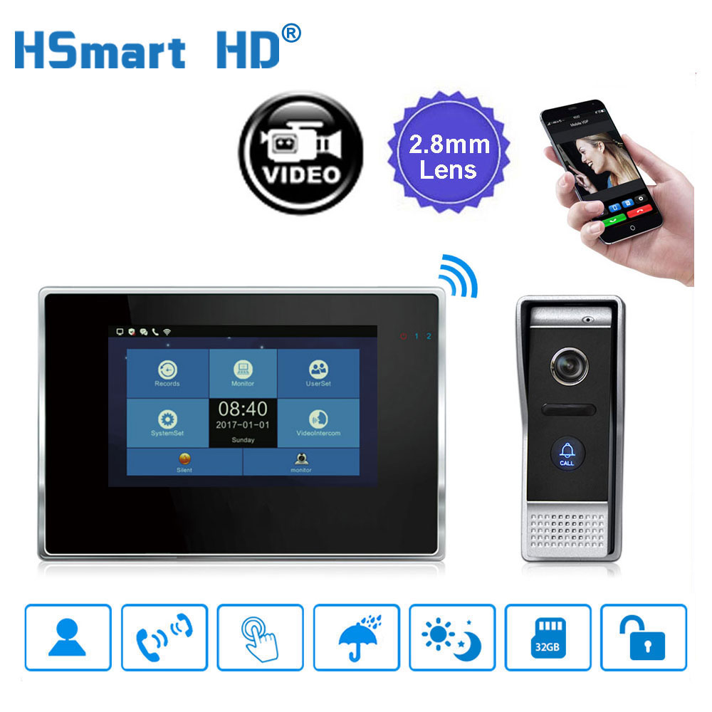 7 Inch Wireless WiFi Smart IP Video Doorphone Villa Intercom System Touch LCD 1200TVL Outdoor Camera Video Doorbell APP Unlock