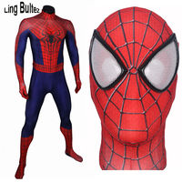 Ling Bultez High Quality Classic Amazing Spiderman Suit 3D Print Movie Amazing Spiderman Costume Adult Red Spiderman Suit