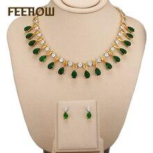 FEEROW 18K Gold Plated Classic Top Quality Water Drop CZ Diamond Wedding Jewelry Set For Engagement Bijoux Femme FWSP105