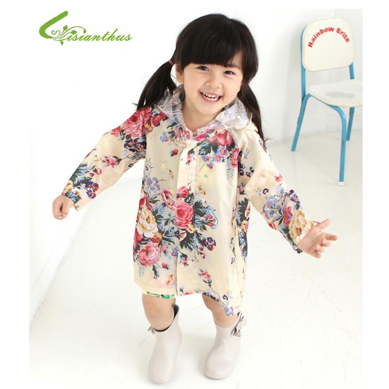 Hot Sale 2018 Lovely Big Flower Child Adult Fashion Girls Raincoat Raincoat Children Raincoat Poncho Raincoat Baby Free Shipping