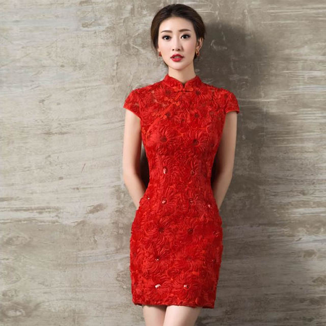 2016 fashion chinese traditional wedding dress red lace for Chinese style wedding dress