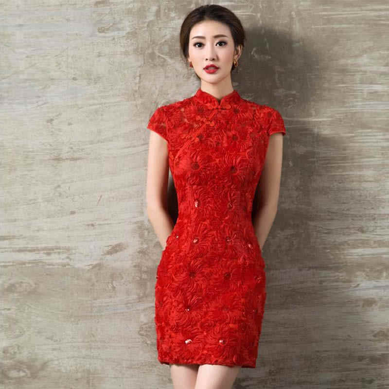 afd6dc722 At A Loss Markdown Sale Fashion Chinese Traditional Wedding Dress Red Lace  Bride Cheongsam Oriental Style