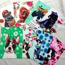 Filhote de cachorro bonito mão tingida pano digital impresso tecido artesanal diy retalhos estofando tela de linho algodão 15x20cm 6 pçs