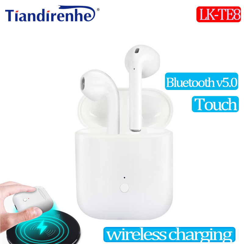 Mini LK TE8 TWS Headset Bluetooth v5.0 Touch Headphone Wireless Stereo Bass Earphone For iPhone PK i9s i7s s8 wireless charging