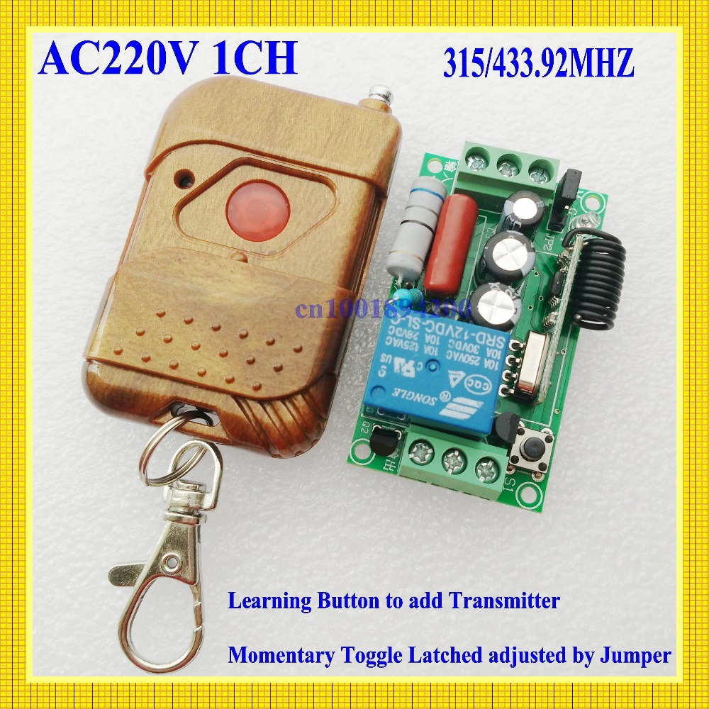 220V 1CH RF Wireless Remote Switch Receiver&Transmitter Light Lamp LED SMD ON OFF Switch10A Relay Momenrary Toggle  315/433.92 220v ac 10a relay receiver transmitter light lamp led remote control switch power wireless on off key switch lock unlock 315433