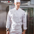 High quality thick washable long-sleeve white chef uniform work wear