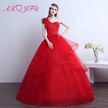 AXJFU princess red lace flower Wedding Dress dubai big flower one shoulder beading crystal ruffles white wedding dress