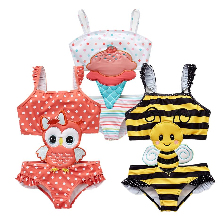 Kavkas Girls Swimwear Swimsuits Bikini Ruffles One-Pieces Kids Bath Cute 12M-8T