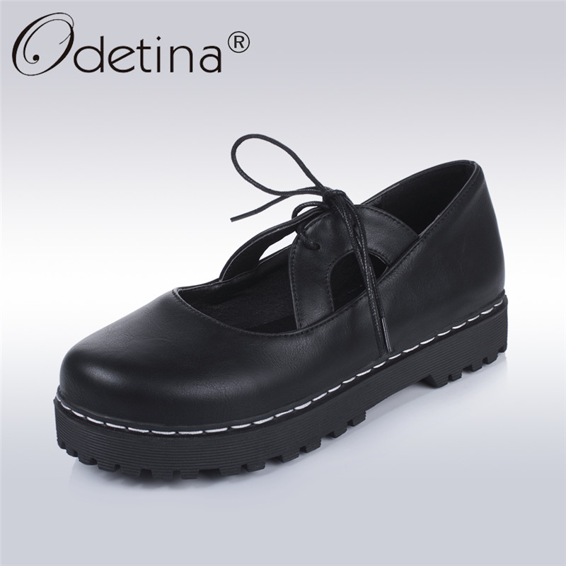 Odetina 2018 New Fashion Spring Platform Flats For Women Casual Lace Up Leisure Round Toe Sweet Lolita Lady Shoes Big Size 34-43 plus size 34 41 black khaki lace bow flats shoes for womens ds219 fashion round toe bowtie sweet spring summer fall flats shoes