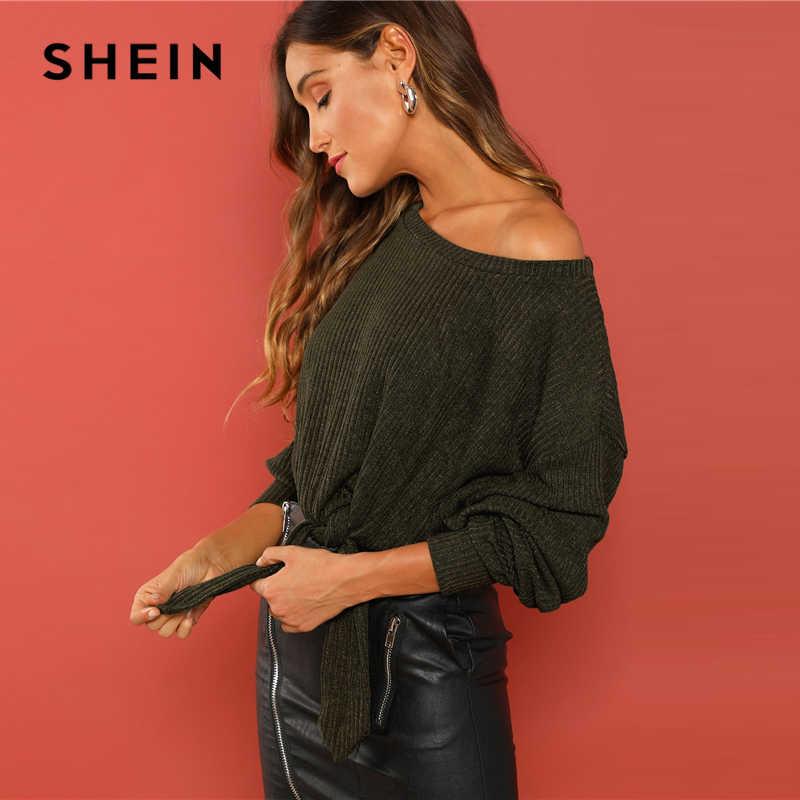 SHEIN Green Rib Knit wiązane obszycie bluza elegancka, długa rękaw wokół szyi Crop swetry damskie jesienne bluzy w stylu casual