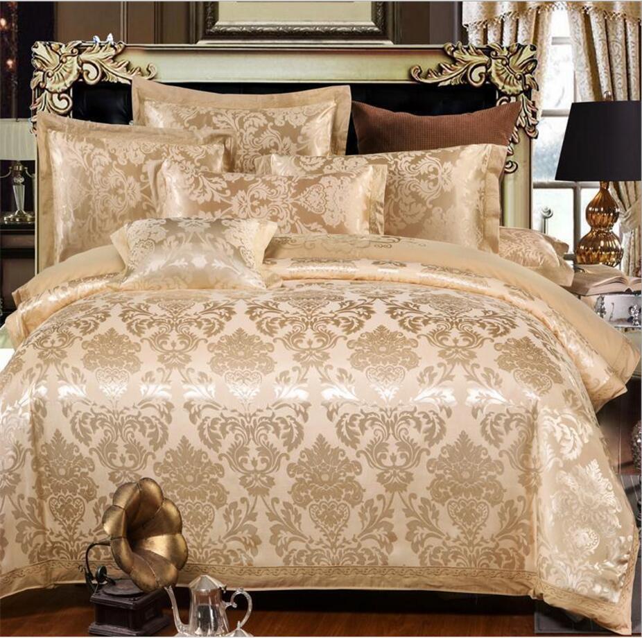 Jedwab/bawełna haftowane łóżko królowej King Size 4 sztuk złota satyna pościel zestaw luksusowych żakardowe kołdra okładka + płaski arkusz + poszewki na poduszki w Zestawy pościeli od Dom i ogród na  Grupa 1