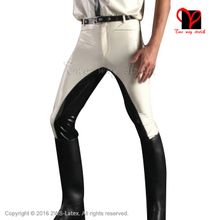 White and Black Trims Sexy Latex Leggings Trousers Pants Rubber Jeans Long Bottoms Plus Size XXXL