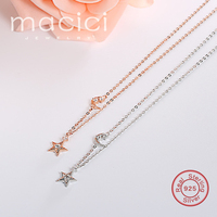 Newest 925 Sterling Silver Dazzling Zircon Necklace Star Moon Necklace Pendants Charms Choker Necklace Personality Jewelry