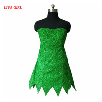 2017 Princesse Tinkerbell Dress Sexy Fantaisie Film Cosplay Vert Fée Pixie Adulte Robes D'été Anime Tinker Bell Robe
