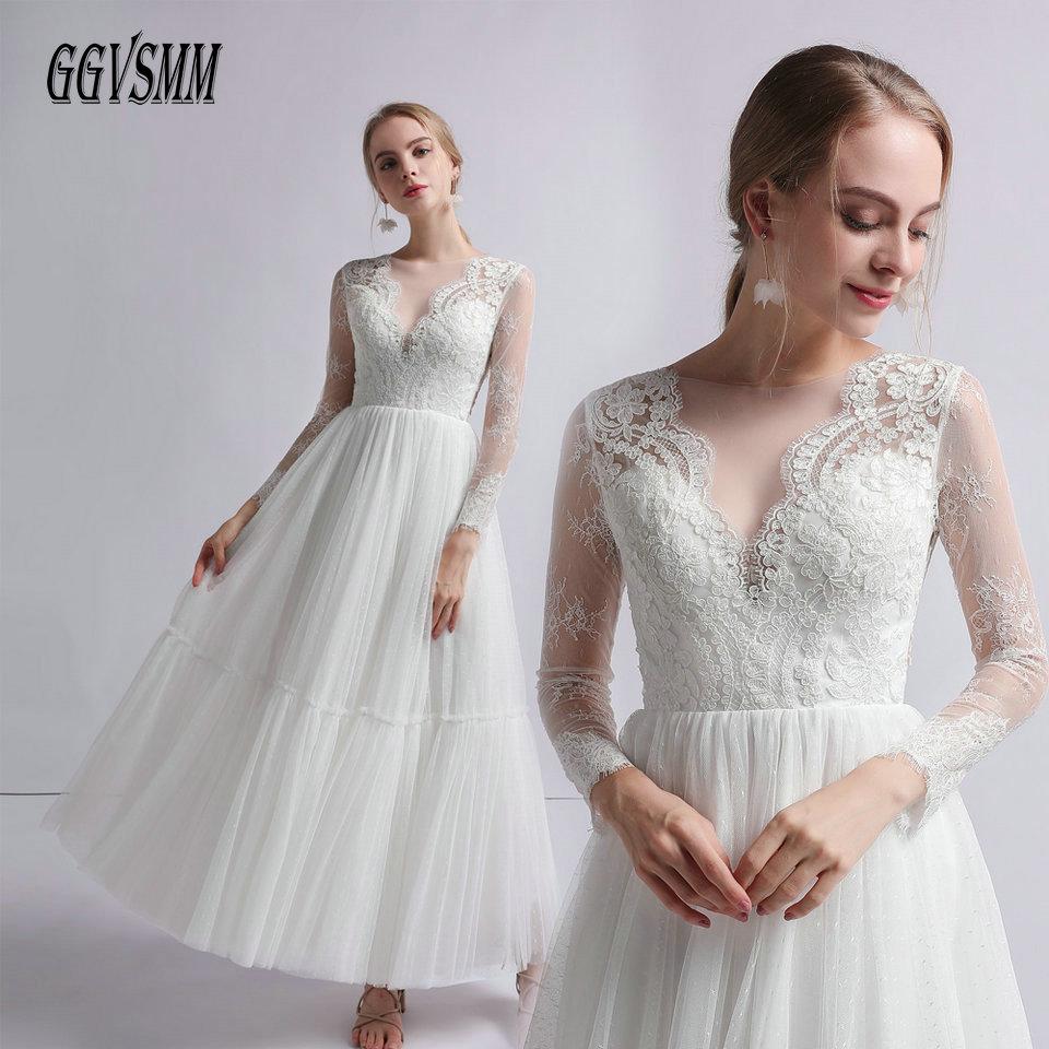 Elegant BOHO White Wedding Dress For Women 2019 Sexy Ivory