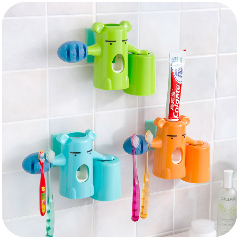 Automatic Kids Toothpaste Dispenser Korean Bear Baby Toothbrush Holder Colorful Bathroom Set Cute In Accessories Sets