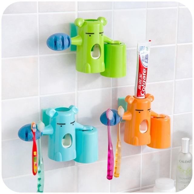 Automatic Kids Toothpaste Dispenser Korean Bear Baby Toothbrush Holder Colorful Bathroom Set Cute