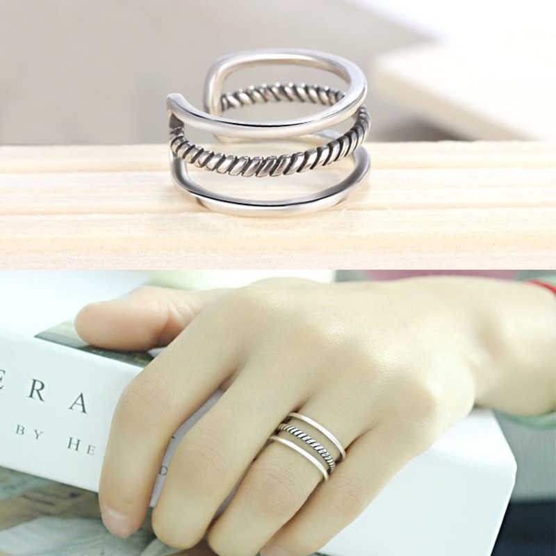 Punk Vintage Silver Open Multilayer Wrapped Round Rings for Women Girls Gift Jewelry Adjustable Size Finger Ring