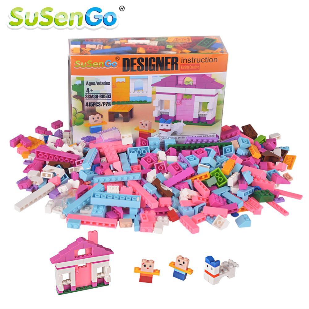 SuSenGo Building Blocks 415pcs DIY Creative Bricks kits Children Toys Educational Model Girls Toy Gift Compatible with Lepin 2016 new sluban 0502 building blocks 415pcs diy creative bricks toys for children educational bricks brinquedos legeod
