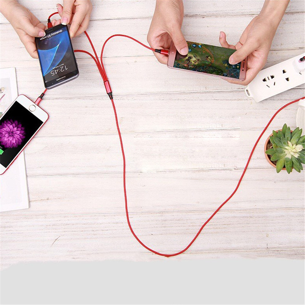 NOHON 3 in 1 Nylon USB Charging Cable Lighting For iPhone 7 8 Plus X XS MAX XR Android For Xiaomi LG Huawei Samsung Charger Cord in Mobile Phone Cables from Cellphones Telecommunications