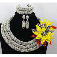 Shinny Sliver Grey African Women Jewelry Beads Set Hot Nigeria Bridal Crystal Flower Necklace Wedding Bead Free Shipping QW507