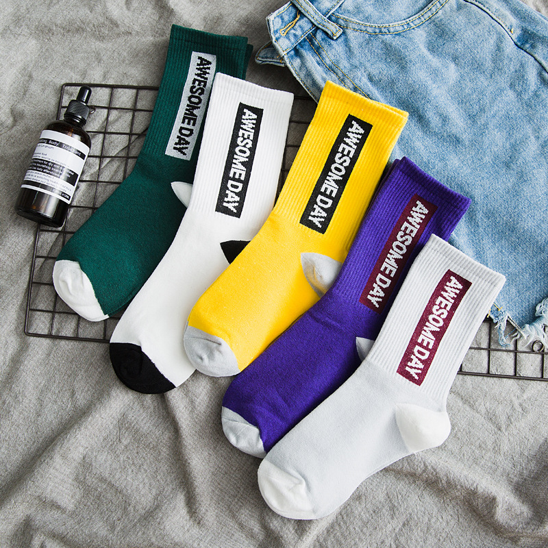 Womens Socks 2019 Autumn Winter Korean Japanese Harajuku Letter Print Cotton Causal Fashion Women Girl