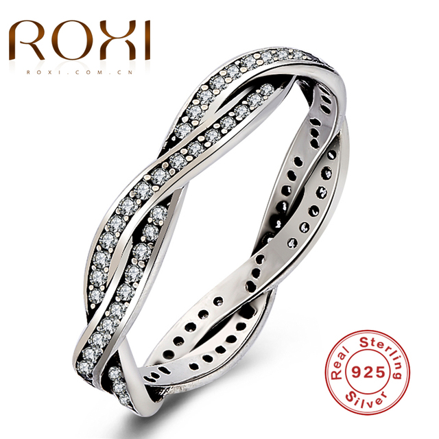 ROXI 925 Sterling Silver Braided Pave Silver Ring with Clear CZ Authentic Twist Of Fate Stackable Twisted Ring Fashion Jewelry