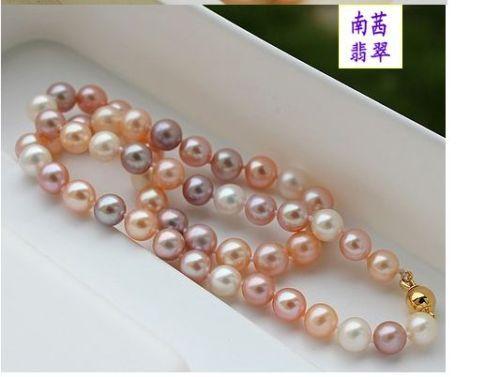 Mulheres palavra Dom de Amor mulheres Moda Jóias elegante 9-10mm do sul do mar branco rosa roxo multicolor colar de pérolas 18 polegadas