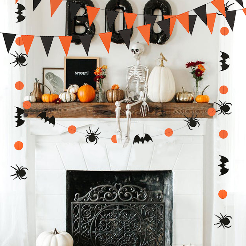 Us 9 99 Halloween Decoration Prop Spider Bat Circle Bunting Black Orange Triangle Banner Paper Garland Kids Halloween Party Diy Supplies In Party