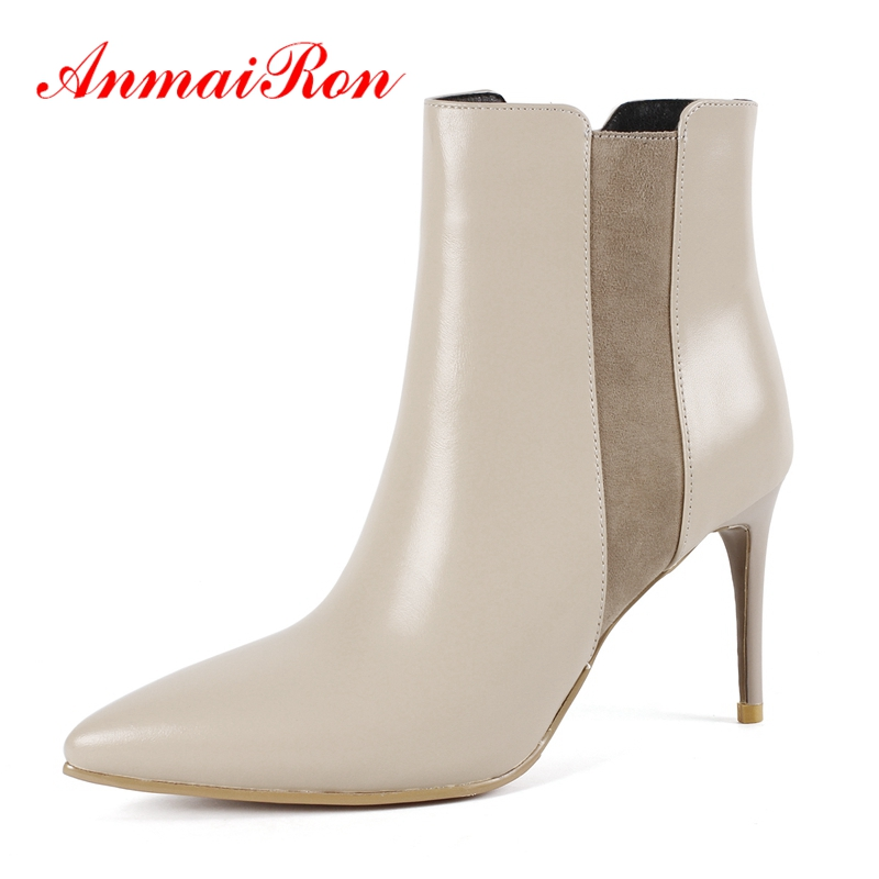 AnmaiRon Women patchwork pointed toe zipper ankle boots  lady fashion real leather high heel botas mujer Big size 34-43 ZYL1339AnmaiRon Women patchwork pointed toe zipper ankle boots  lady fashion real leather high heel botas mujer Big size 34-43 ZYL1339