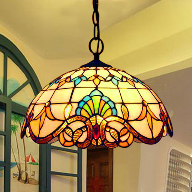 Baroque Tiffany Pendant lights Stained Glass Chain Lighting Suspended Luminaire for Home Parlor Dining Room Lamps E27 110-240V X